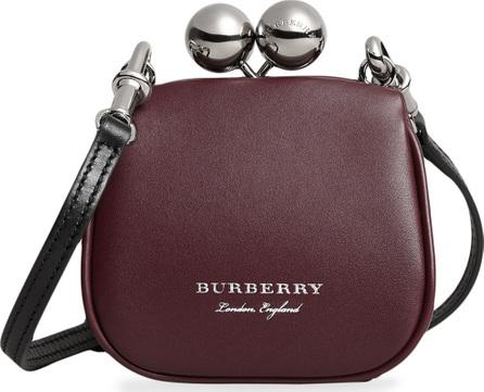 Burberry London England Mini two-tone leather metal frame clutch bag