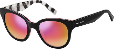 MARC JACOBS Round Mirrored Sunglasses w/ Zebra-Print Trim