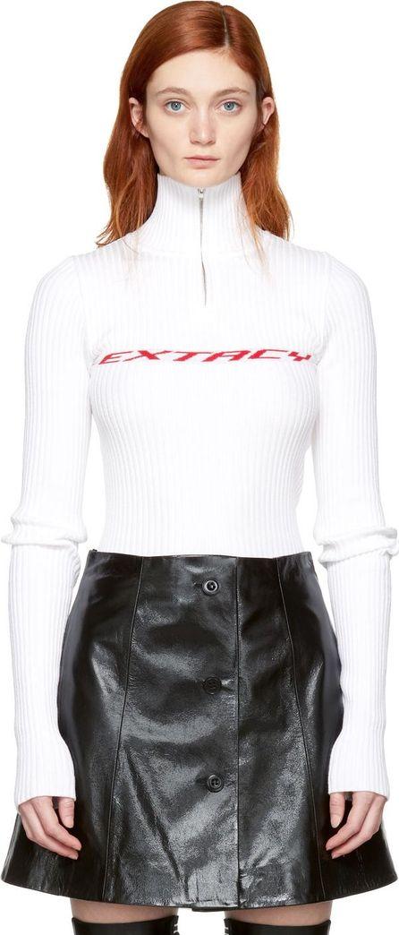 Misbhv White 'Extacy' Half-Zip Sweater