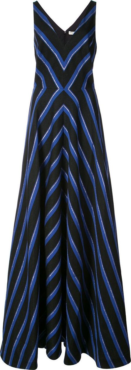 HALSTON HERITAGE striped floor-length dress