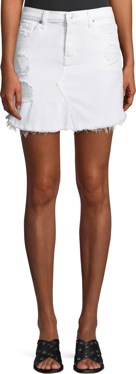 7 For All Mankind Destroyed Denim Scalloped-Hem Skirt