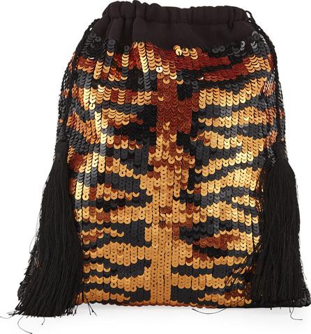 Attico Full Sequin Tiger Pouch Bag
