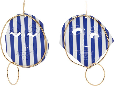 J.W.Anderson Mismatched stripe moon face drop earrings