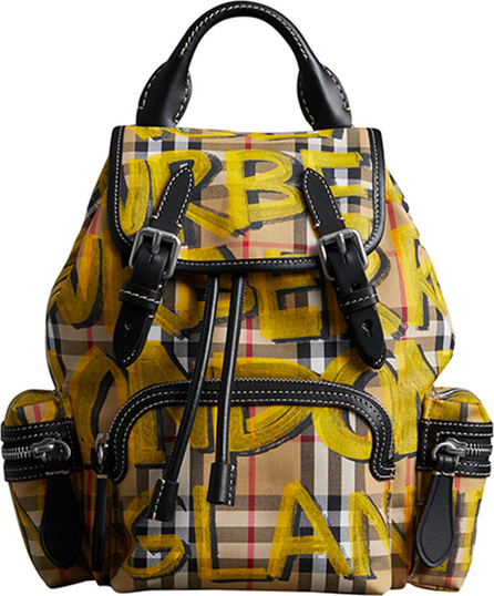 Burberry London England Graffiti Check-Print Small Rucksack Backpack
