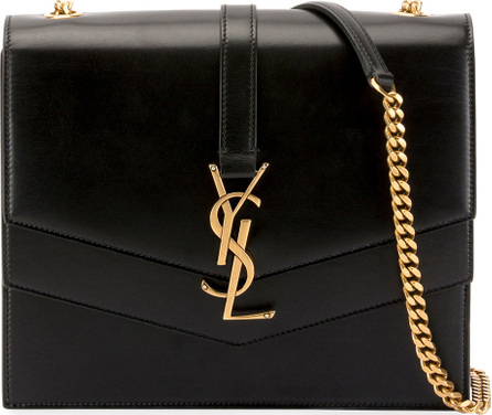 Saint Laurent Sulpice Leather Triple V-Flap Crossbody Bag