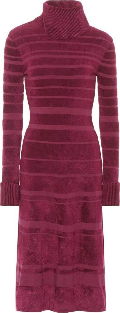 Agnona Striped high-collar dress