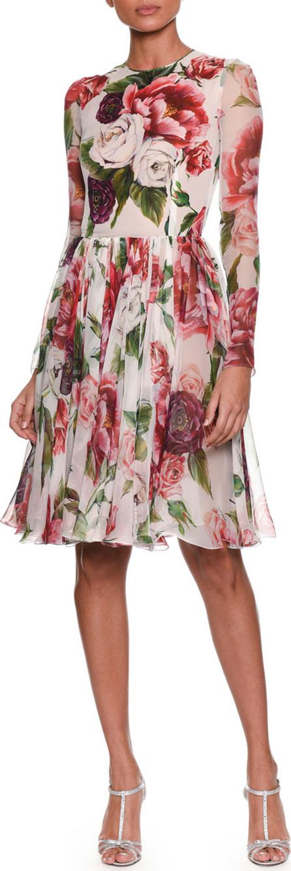 Dolce & Gabbana Long-Sleeve Rose & Peony Print Fit-and-Flare Chiffon Dress