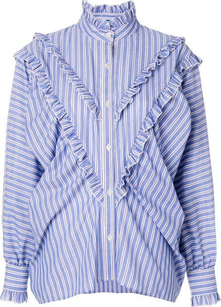 Alexa Chung Striped batwing ruffle blouse