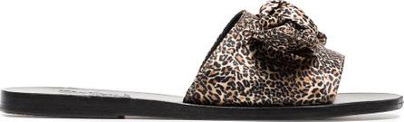 Ancient Greek Sandals Brown Taygete leopard print satin bow slides