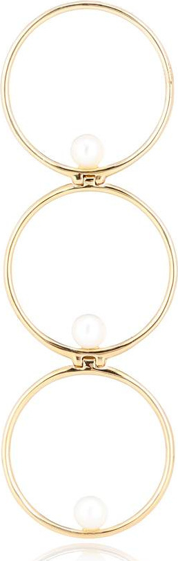Anissa Kermiche Triple Rondeur Perlée 14kt gold and pearl single earring
