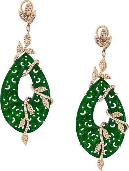 Gemco carved jade drop diamond earrings