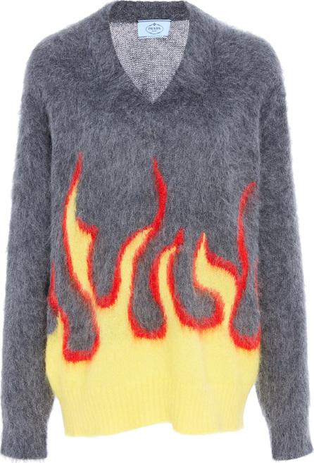 Prada Flame-Print Intarsia-Knit Mohair Sweater