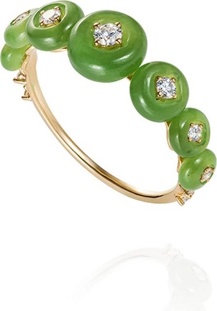 Fernando Jorge Surrounding 18k Jade & Diamond Ring  Size 6.75