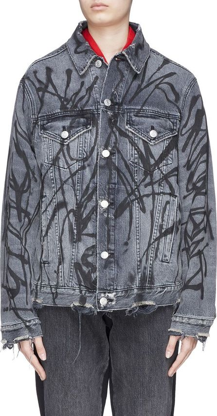 Adaptation Logo print distressed denim jacket