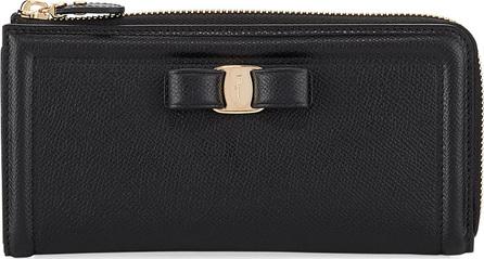 Salvatore Ferragamo Zip-Around Gancio Wallet, Black