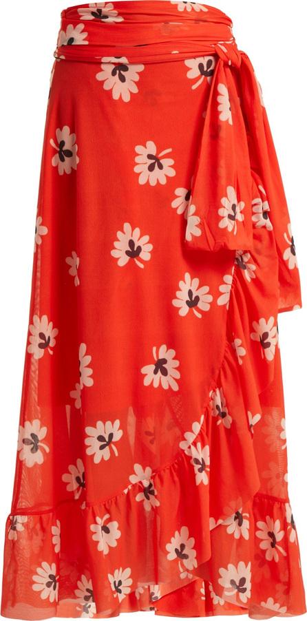Ganni Tilden floral-print wrap skirt
