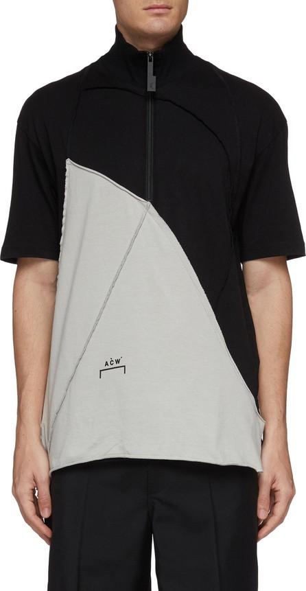 A-Cold-Wall* Diagram print raw edge colourblock half-zip T-shirt