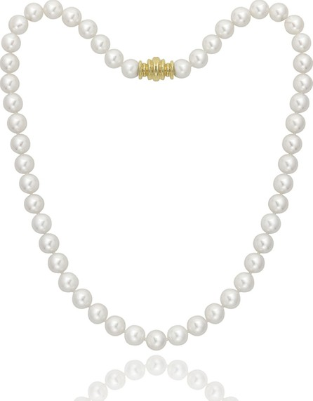 """Assael Short 8.5mm Akoya Pearl-Strand Necklace w/ 18k Gold, 16""""L"""