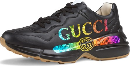Gucci Men's Rhyton Logo-Print Leather Sneaker