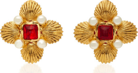 Byzantine Shell 24K Gold-Plated Brass Pearl and Poured Glass Clip Earrings Gripoix oWSomz