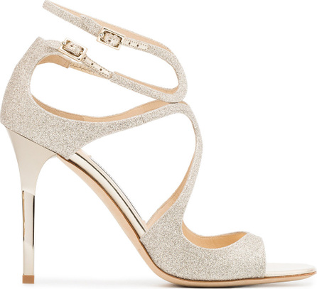 Jimmy Choo Metallic Lang 100 glitter leather sandals