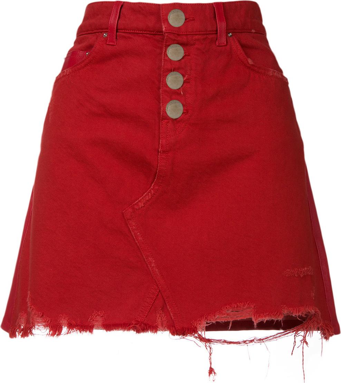 Amiri - Raw denim A-line mini skirt