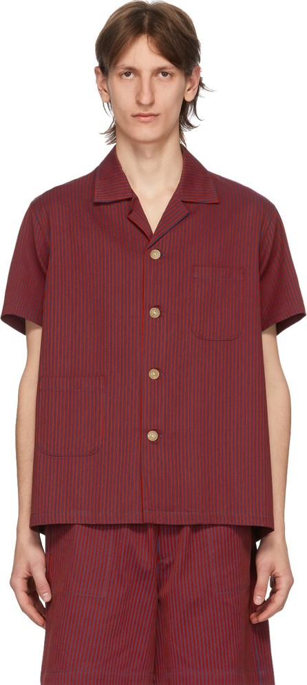 Bode Blue & Red Micro Tent Short Sleeve Shirt
