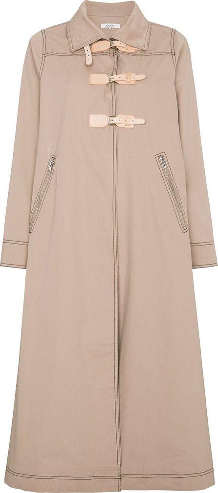 Ganni Phillips leather buckle belt coat