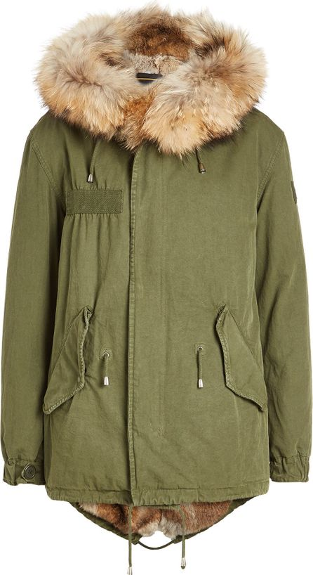 Barbed Cotton Parka with Fur Lining and Trimmed Hood