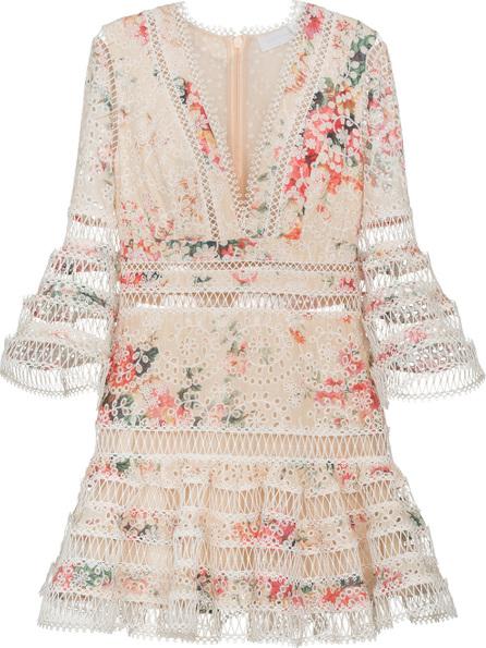Zimmermann Laelia diamond trim floral print cotton dress