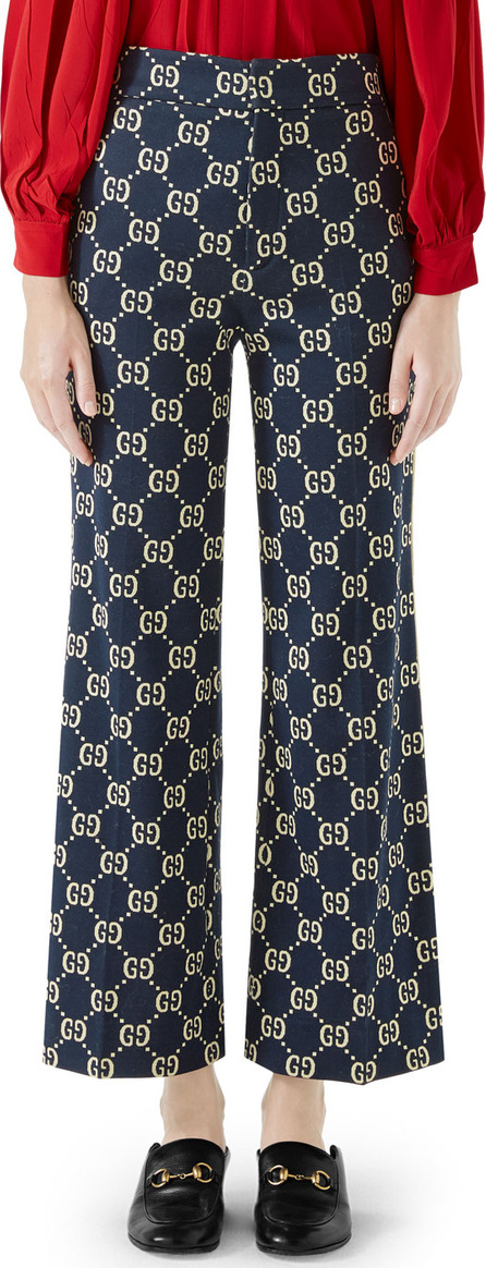 Gucci Flared-Leg Double-G Crop Cotton Jersey Pants
