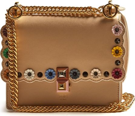 Fendi Kan I small flower-appliqué leather cross-body bag