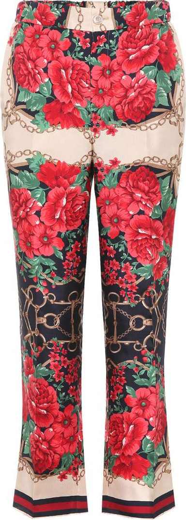 Gucci Floral-printed silk twill trousers