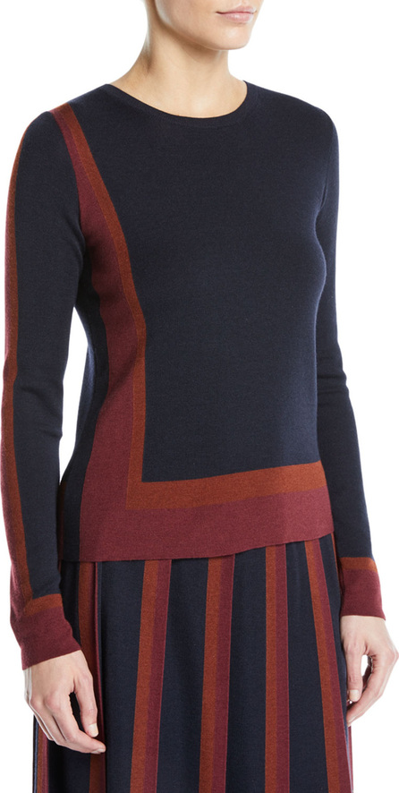 Graphic Cashmere-Silk Crewneck Long-Sleeve Sweater