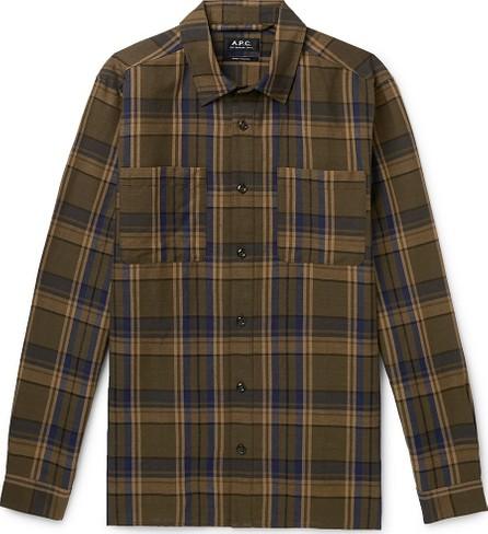 A.P.C. Achille Checked Cotton and Linen-Blend Canvas Shirt