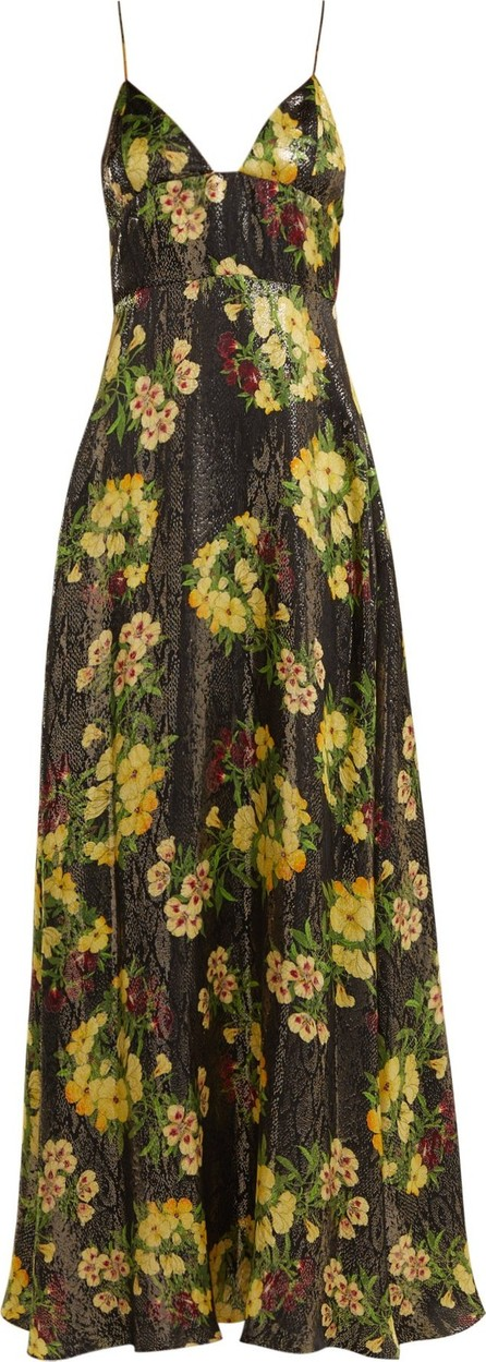 Adriana Iglesias Liz floral-print silk-blend gown