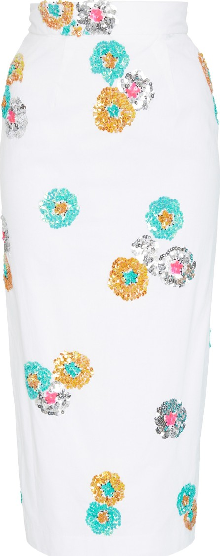 Alcoolique Araka Embellished Cotton Midi Skirt