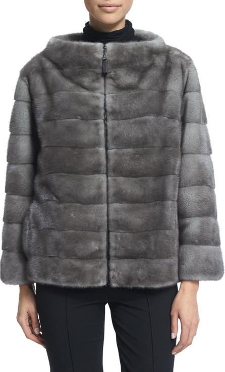 Gorski Zip-Front Reversible Fur Jacket, Blue Iris