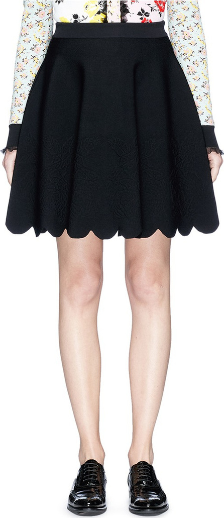 Alexander McQueen Rose embossed scalloped knit skirt