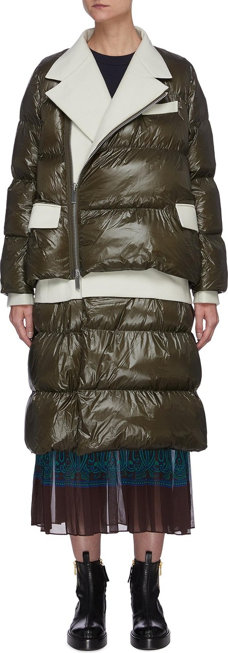 Sacai Panel elongated Melton puffer coat