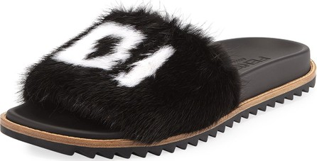 Fendi Men's Fendi Mania Logo-Print Mink Fur Slide Sandals