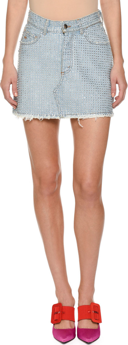 Attico Stone-washed Denim Skirt with Bonded Crystals