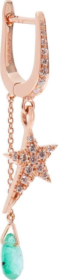 Diane Kordas Spectrum 18kt rose-gold, diamond & emerald earring