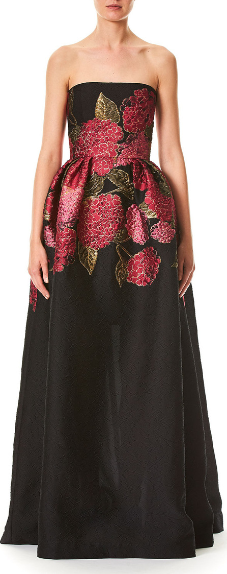 Carolina Herrera Hydrangea Fil Coupe Strapless Jacquard Ball Gown