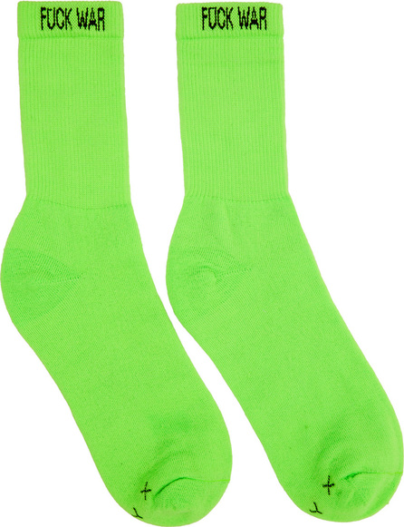 Alyx Two-Pack Orange & Green 'Fuck War' Neon Socks