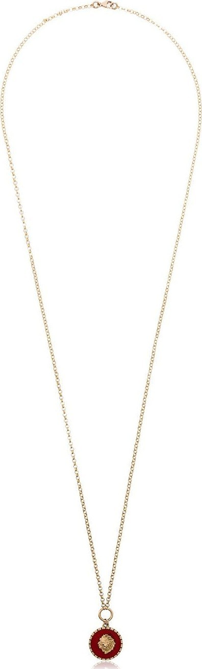 Foundrae 18k yellow gold Lion enamel necklace