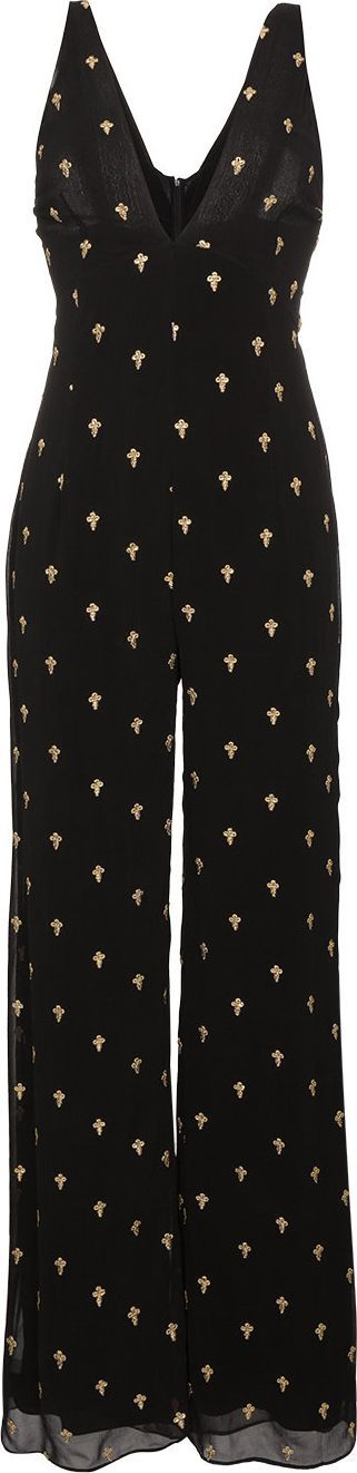 De La Vali Sleeveless flared jumpsuit with embroidery