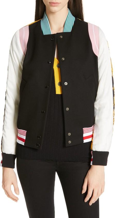 N°21 Floral Print Contrast Varsity Jacket