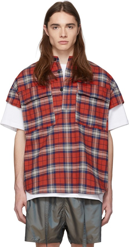 Fear of God Red Plaid Flannel Cap Sleeve Shirt