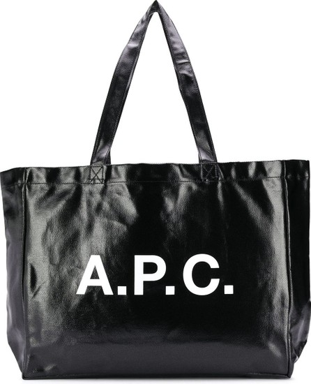 A.P.C. Logo-print high-shine tote bag